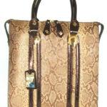 Blu StyleTote bag i läder, tryckt mönster Brons