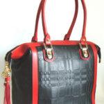 lu StyleTote bag, läder med präglat tartan-mönster Svart/röd