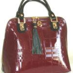 Blu Style Handväska, patentläder med präglat mönster Färg bourdeaux