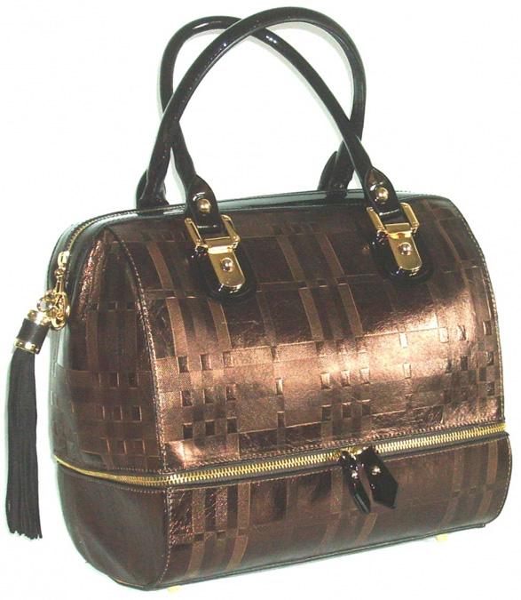 Blu StyleHandväska, läder med tartan-mönster Färg brons