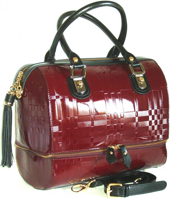 Blu StyleHandväska i patentläder, tartan-mönster Bourdeaux