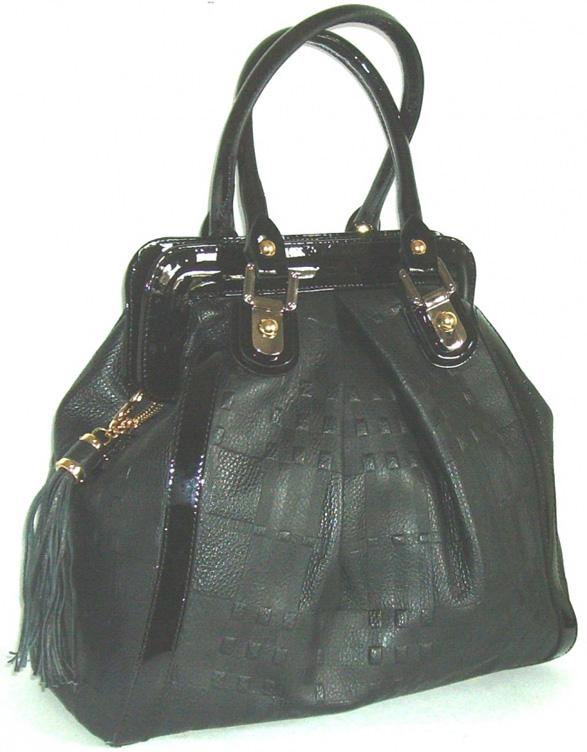 Blue Style Handväska, läder med präglat mönster Färg svart