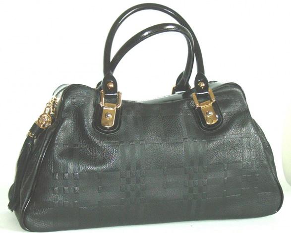 Blu Style Handväska, läder med präglat mönster Färg svart