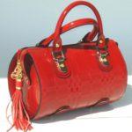 Blu Style Handväska med präglat tartan-mönster Färg röd