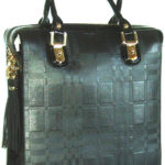 Väska Blu Style Tote bag i skinn, tartan-mönster