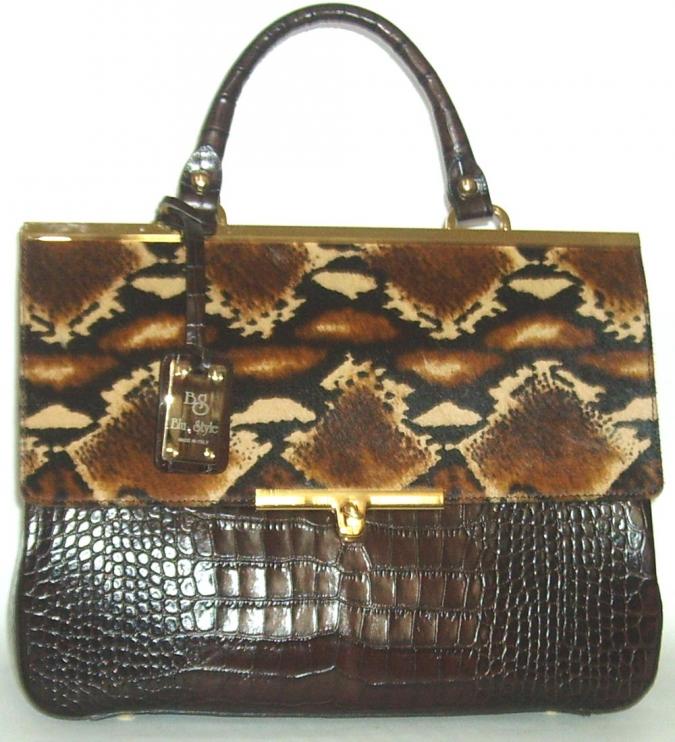Blu Style Handväska croco och leopardmönster